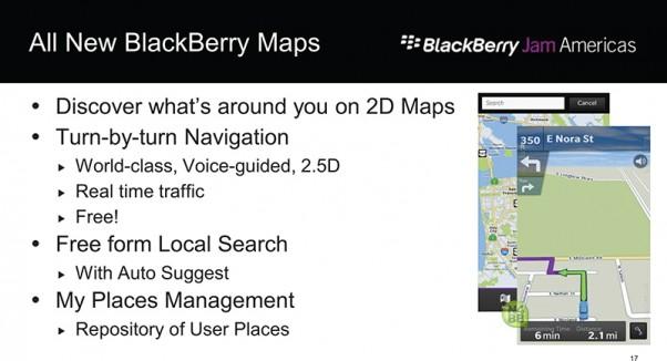 Ứng dụng bản đồ dành cho BlackBerry 10 sẽ chỉ hỗ trợ xem 2D
